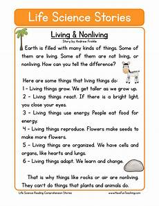 living and nonliving life science reading comprehension