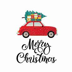 merry christmas stylized typography vintage car with christmas tree and gift boxes vector