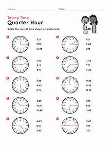 printable worksheets telling time quarter hour 3772 telling time on the quarter hour match it worksheet education