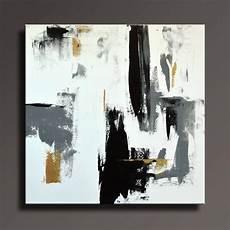 Tableau Abstrait Noir Blanc Gris Or Peinture Toile Etsy