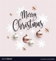 merry christmas card with rose gold balls vector image