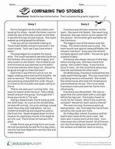 comparing two stories worksheet education com