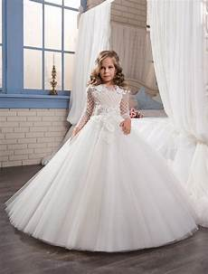 2017 ball gown long sleeve appliques lace floor length flower girl dresses first communion
