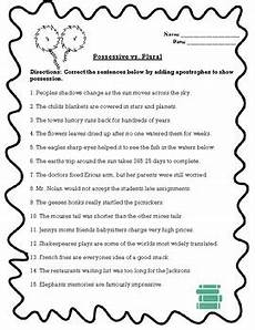plural vs possessive apostrophe worksheet by the teachers library