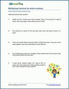 fraction stories worksheets 4109 grade 4 word problem worksheets multiply fractions by whole numbers k5 learning