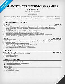maintenance technician resume sle resumecompanion com resume sles across all