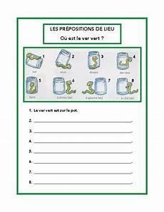pr 233 positions de lieu prepositions of place worksheet in