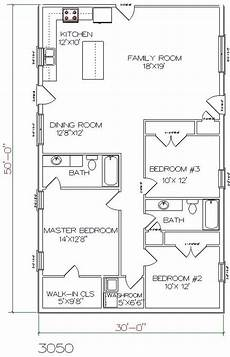 30x50 house floor plans barndominium floor plan 3 bedroom 2 bathroom 30x50 floor