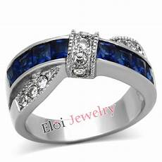womens blue sapphire cz silver filled wedding ring band