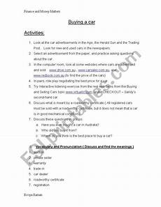english worksheets buying a car