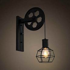 black metal cage wall light with pulley 1 light industrial wall light for kitchen