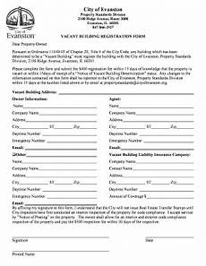 fillable online vacant building registration form city