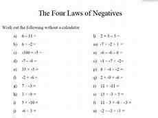 gcse maths the laws of negatives revision worksheet