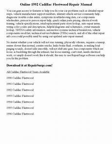 service and repair manuals 1994 cadillac fleetwood auto manual 1992 cadillac fleetwood repair manual online by precious