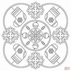 winter mandala coloring page free printable coloring pages
