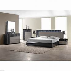 modern king size bed platform frame w led lighting