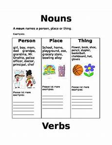 noun worksheets for elementary students nouns verbs and adjectives worksheets by teaching elementary grades 3 6