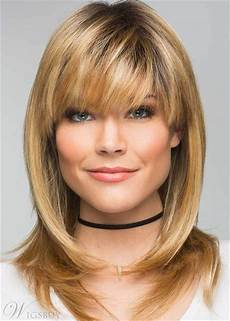 medium length shag hairstyles with bangs layered shag hairstyle with bangs medium synthetic capless wigs wigsbuy com