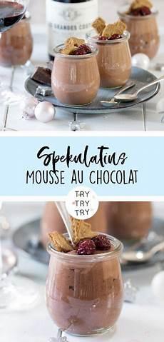 spekulatius mousse au chocolat mit kandierten kirschen