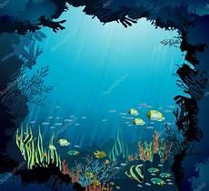 unterwasserwelt korallenriff und fisch stockvektor