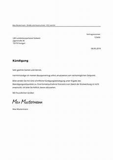 lbs kündigung bausparvertrag lbs bausparvertrag k 252 ndigen kostenlose muster vorlage