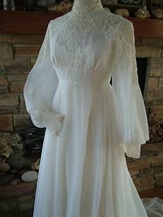 Vintage Wedding Dresses 1970s vintage wedding dress 1970s chiffon with alencon lace bodice