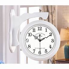 wooden wall clock brown white large 16 inch double