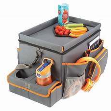 a car seat organizer cooler drink station and snack tray