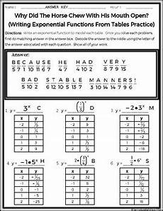 writing exponential functions worksheet writing exponential functions from tables practice riddle worksheet