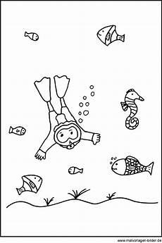 Malvorlagen Fische Meer Ausmalbild Taucher Und Fische Im Meer