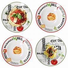 pasta teller 4er set pastateller mit dekor gr 252 n rot 216 26 5cm nudel