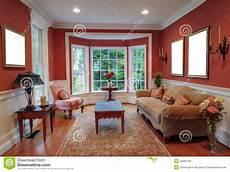 living room interior with bay window stock photo image