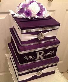 wedding card holder card box with lock purple card holder
