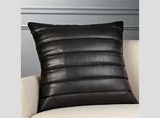 "23"" Izzy Black Leather Pillow   CB2"