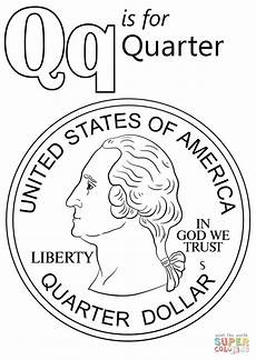 letter q is for quarter coloring page free printable