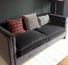 Sofa Samt Grau - grey velvet sofa