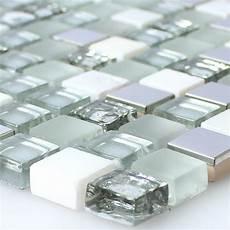 glas edelstahl naturstein mosaik fliesen weiss silber