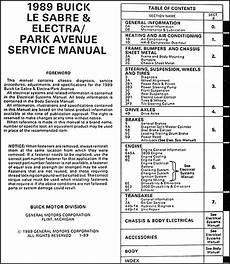 1989 buick lesabre electra park avenue repair shop manual original