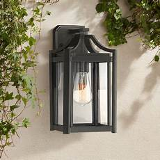 franklin iron works rustic farmhouse outdoor wall light fixture black 12 1 2 quot clear beveled
