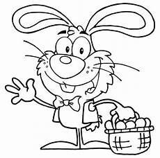 Ostern Malvorlagen Quiz Kostenlose Malvorlage Ostern Osterhase Mit Eierkorb Zum