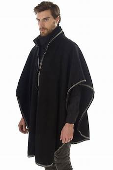 Rounded Wool Cape With Trim My Style Mens Poncho Mens
