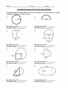 circumference perimeter circles compound shapes geometry worksheet