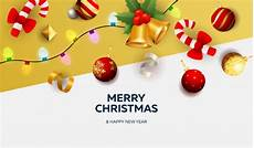 merry christmas banner with decor white and yellow ground vector free download