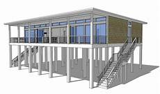 coastal house plans on pilings plan 44073td modern piling loft style beach home plan