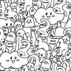 doodle vector seamless pattern with monsters