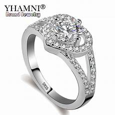 yhamni original real pure 925 silver rings cz zircon fashion wedding accessories heart rings
