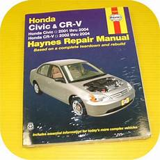 automotive service manuals 2008 honda civic free book repair manuals repair manual book honda civic 01 04 crv cr v owners ebay