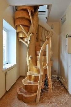 baumstamm als treppe wooden stairs home decor spiral