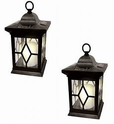 2 solar powered hanging candle lantern garden table l outdoor coach light ebay