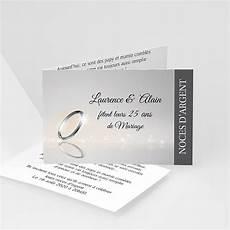 Invitation Anniversaire Mariage Noces Argent 25 Ans